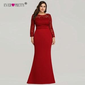 Image 4 - Kiedykolwiek ładne suknie wieczorowe długie 2020 czarna syrenka z długim rękawem koronkowa zimowa jesień satynowa elegancka, długa sukienki na przyjęcie na ślub