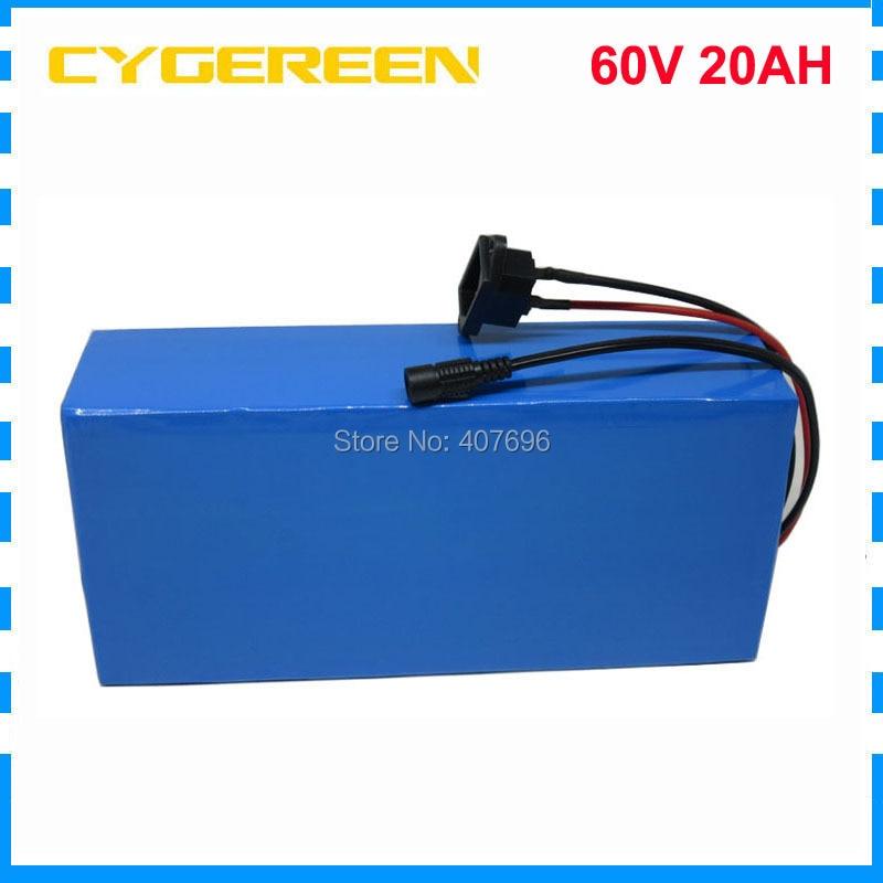 60 v 20AH au lithium ion ebike batterie pack 60 v 1500 w vélo Électrique Batterie 60 v 20AH Scooter Batterie avec 30A BMS 2A Chargeur