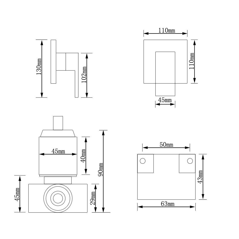 SKOWLL mitigeur de douche robinet de douche en laiton salle de bain bain chaud froid mitigeur robinet mural robinet d'eau torneira chuveiro - 5