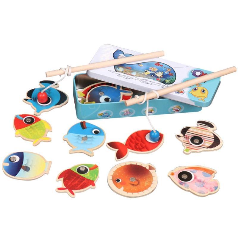 Baby Speelgoed 15 Pcs Fish Grote Maat Houten Speelgoed Voor Kinderen Magnetische Vissen Speelgoed Ijzeren Box Set Dubbele Hengels Kind Educatief