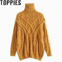 2018 Winter Women Mustard Color Turtleneck Oversize Knit Wear Retro Vintage Crochet Loose Thicken Sweaters Female Knit Jumpers