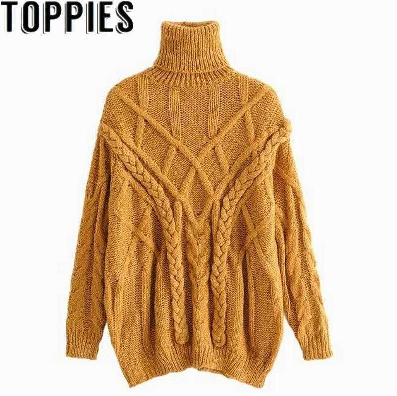 50be631d92e 2019 Winter Women Mustard Color Turtleneck Oversize Knit Wear Retro Vintage  Crochet Loose Thicken Sweaters Female