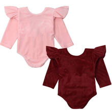 Infant Newborn Baby Girls Velvet Ruffle Bowknot Bodysuit Jumpsuit Solid Long Sleeves Playsuit Growsuit 0 to 24M(China)
