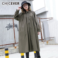 CHICEVER 2018 Dress For Women Black Pleated Long Sleeve Loose Big Size Casual Women's Dresses Of The Big Size Clothes Fashion