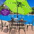 Панияна-2,7 м светодиодный свет Зонт Солнечный внутренний дворик вечерние сад солнцезащитный Зонт Бесплатная дождевик