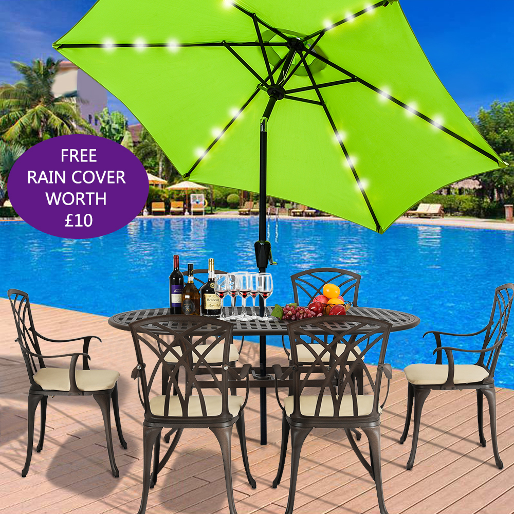 Panana 2.7M LED Lights Umbrella Solar Patio Outdoor Party Garden Sunshade Parasol Free Rain Cover