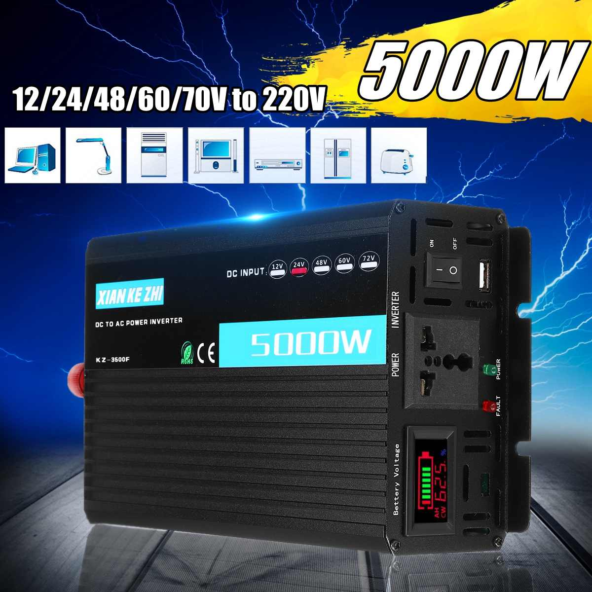 Peaks 5000W 2200W  Modified Power Inverter DC 12/24/48/60/70V to AC 220V Intelligent Multiple Protection Double LED DisplayPeaks 5000W 2200W  Modified Power Inverter DC 12/24/48/60/70V to AC 220V Intelligent Multiple Protection Double LED Display