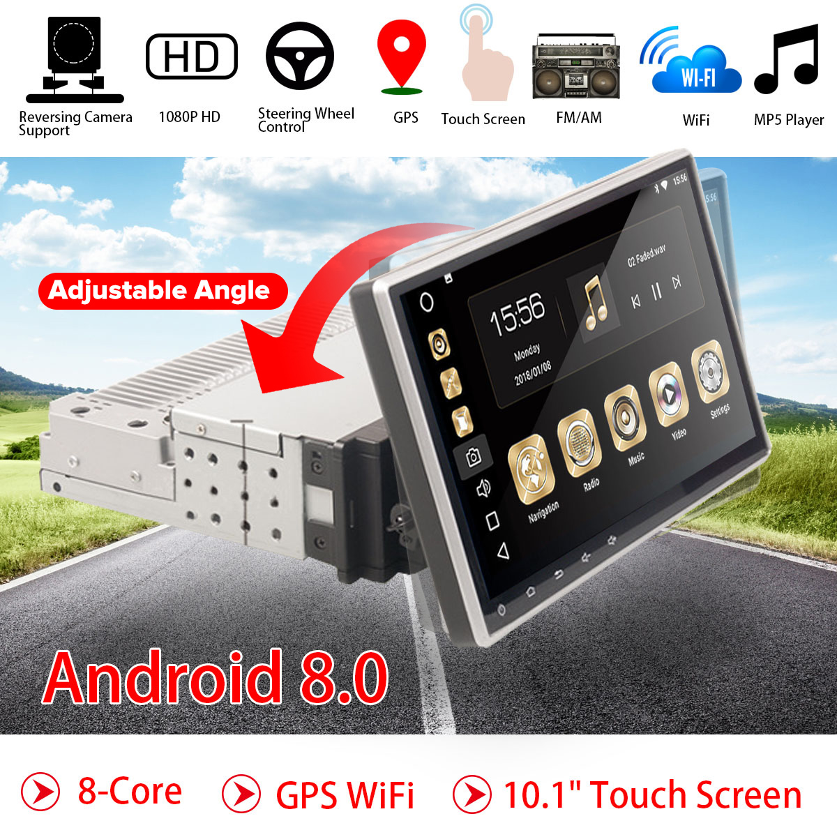"10.1"" <font><b>Android</b></font> 8.0 Car Radio 1 Din 8Core Stereo Receiver GPS Stereo Wifi bluetooth RDS Audio Universal Car Multimedia Player"