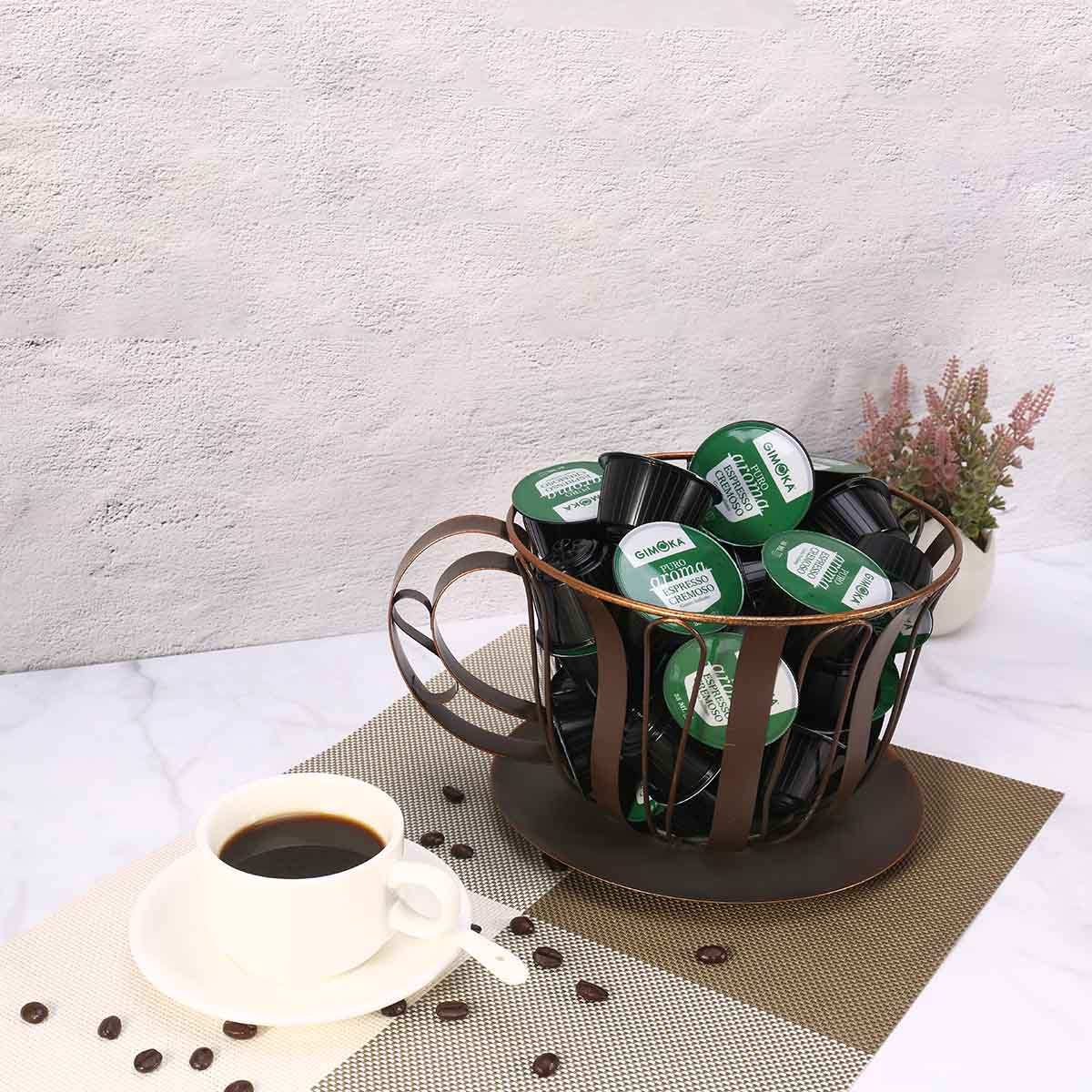 TOOARTS Brown Metal Coffee Pod Container Espresso Pod Holder Home Storage Basket for Fruit Snacks Home Decoration Accessories
