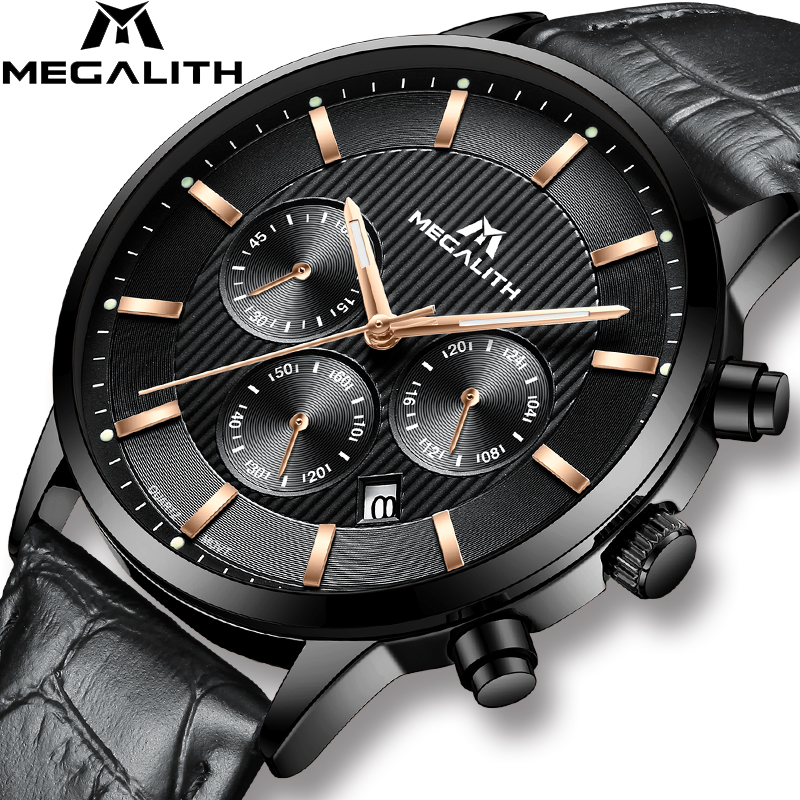 MEGALITH Luxury Watch For Men Waterproof Chronograph Sports Business Wrist Watch Male Genuine Leather Quartz Watch ClockMEGALITH Luxury Watch For Men Waterproof Chronograph Sports Business Wrist Watch Male Genuine Leather Quartz Watch Clock