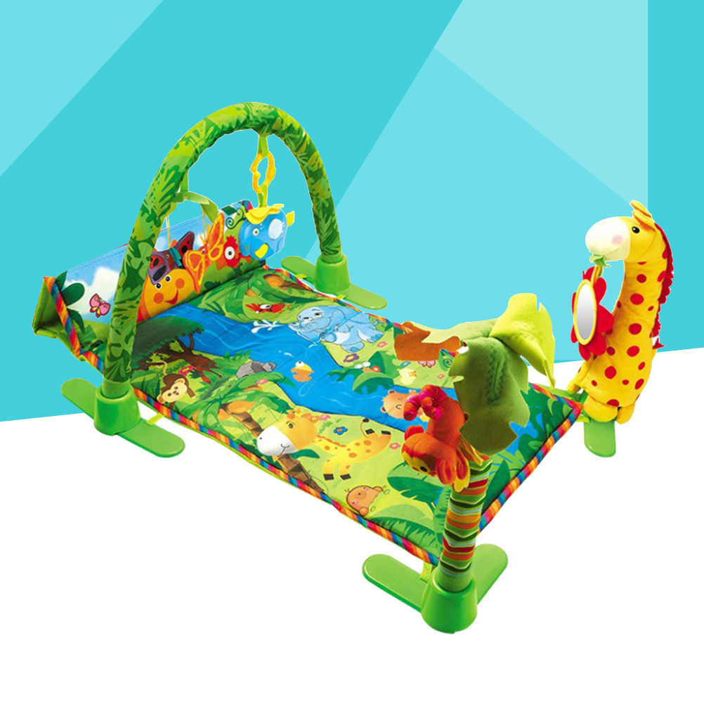 Cartoons Fitness Frame Baby Activity Gym Musical Light Toy Gift For Newborn Crawling Playing Mat Baby Educational Toys (Green)