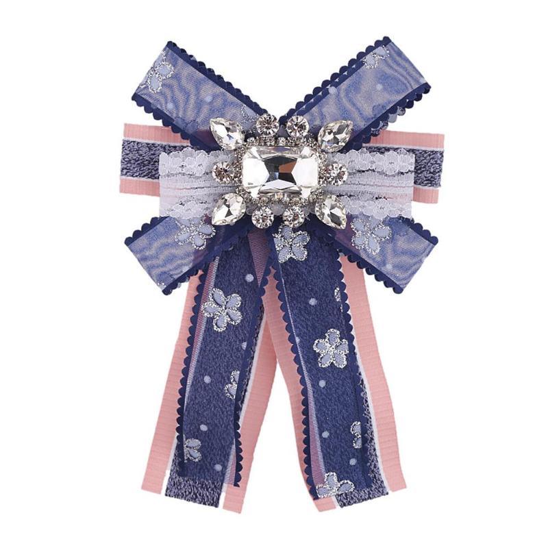 2019 Mode Frauen Bowknot Krawatte Strass Corsage Fliege Brosche Kleidung Kleid Dekoration Zubehör GüNstige VerkäUfe