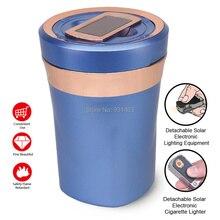 Car Cigarette Ashtrays durable ceramic inner cup Smokeless Auto Cigarette Solar LED Light USB Ash Holder cigarette lighter