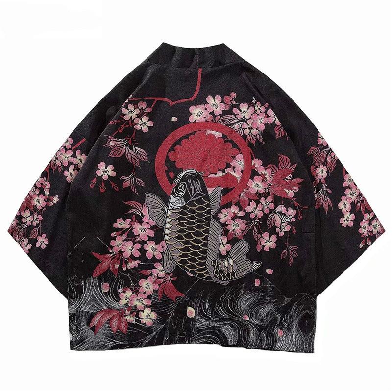 Women Vintage Fish Print Kimono Jackets Summer Thin Kimono Loose Spring Harajuku Streetwear Coat Blouse Q008