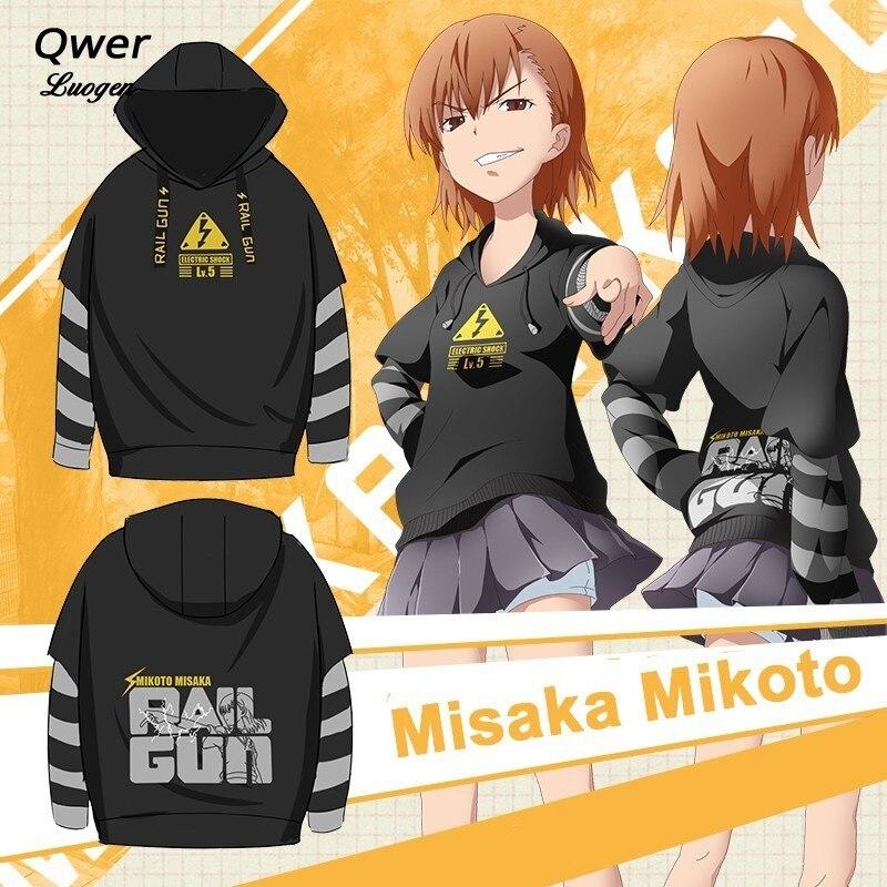 Fashion Anime To Aru Kagaku no Railgun Cosplay Costumes Mikoto Misaka Hoodies Toaru Majutsu no Index Pullover Sweatshirts