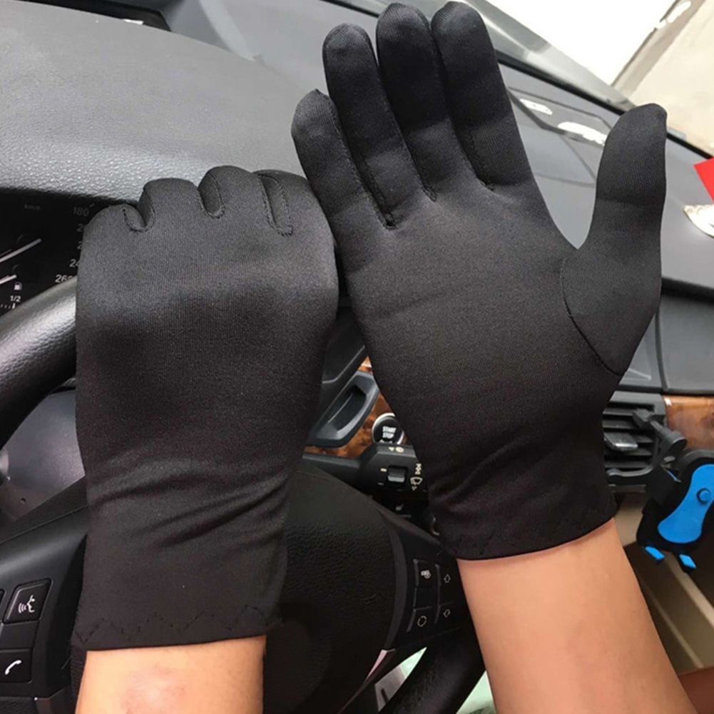 1Pair Men Black White Etiquette Short Gloves Thin Stretch Spandex Sports Driving Sun Protection Five Fingers Gloves Handschoenen 4
