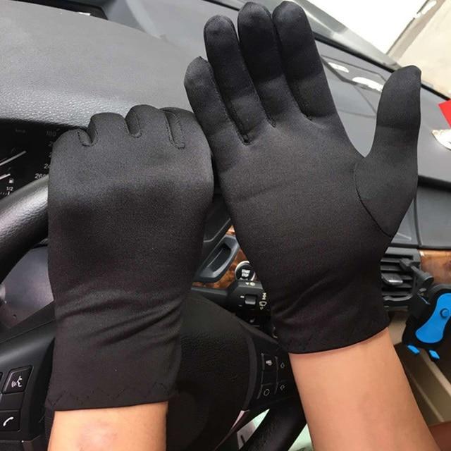 1Pair Men Black White Etiquette Short Gloves Thin Stretch Spandex Sports Driving Sun Protection Five Fingers Gloves Handschoenen 3