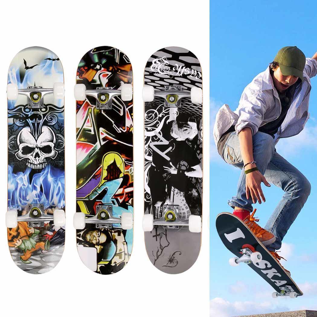 Planche À Roulettes complète Nouveau Crâne Motif Longboard Pont Bois Pont Skate Board En Plein Air Sports Extrêmes Longue Planche Hoverboard Pour Garçon