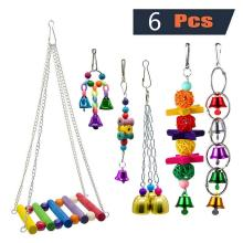 6Pcs/set Bird Parrot Toy Hanging Bell Pet Cage Hammock Swing Macaw Love Finch