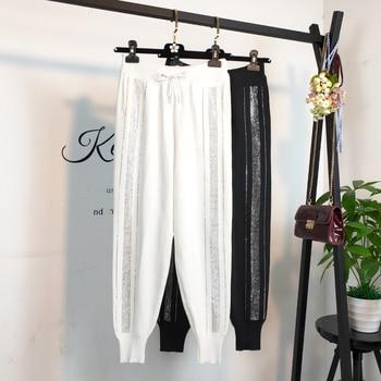 Diamond Stripe Pattern Women Jogger Pants 2019 England Style High Waist Harem Spring White Black Casual Knitted Sweatpants
