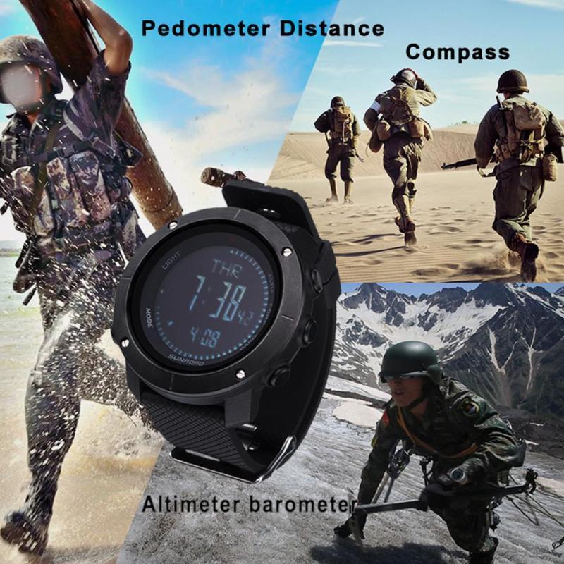 SUNROAD Sports de plein air Fitness suivi baromètre podomètre boussole montre 48 heures pression d'air tableau de tendance taux de montée