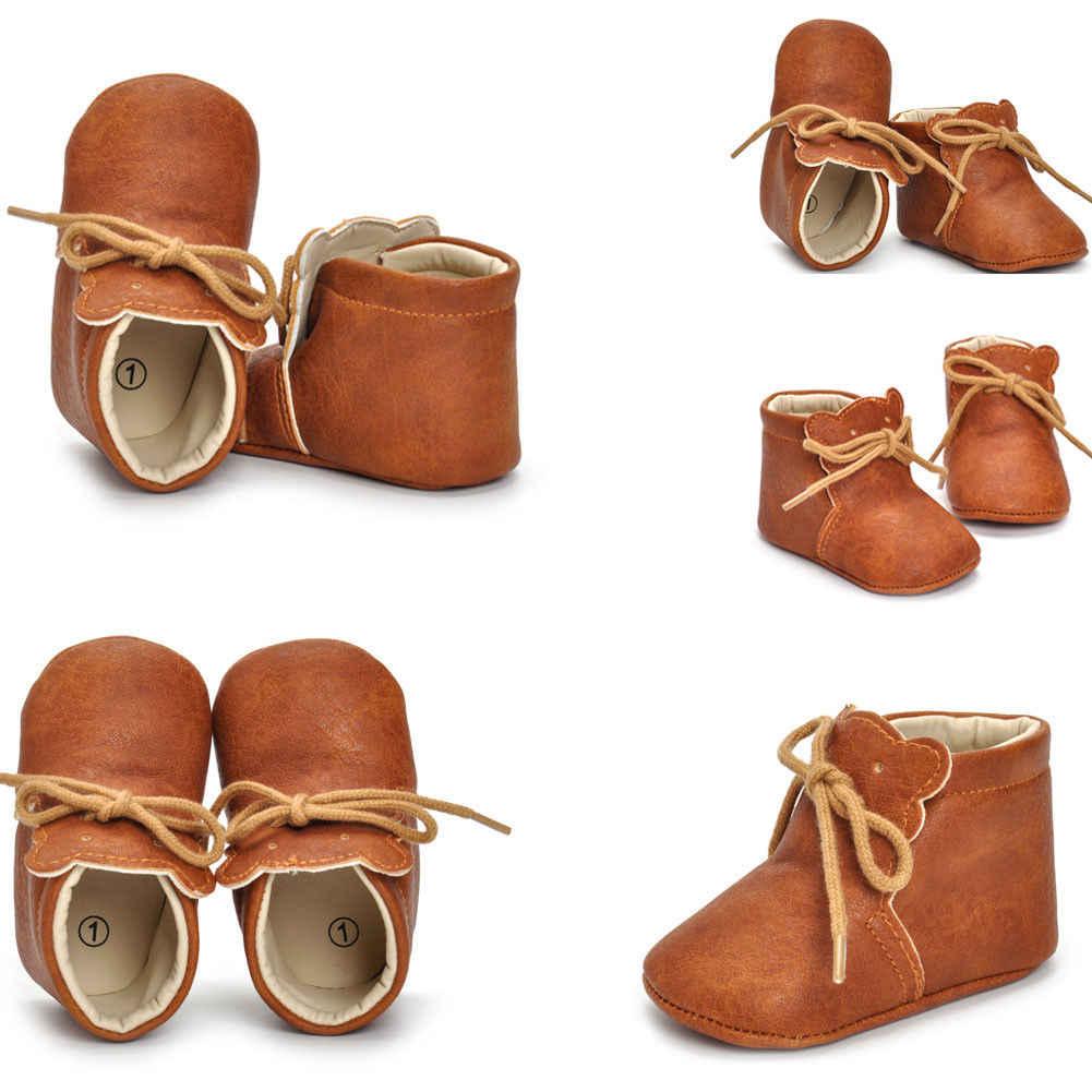 2019 ראשון ווקר יילוד פעוט תינוק ילד ילדה עמיד למים עריסה נעלי רך בלעדי עור סניקרס 3D דוב קריקטורה Prewalker 0 -18 M
