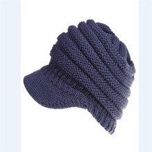 Теплая однотонная Осенняя Повседневная Популярная модная Женская эластичная вязаная шапка грязный пучок конский хвост бини зимняя теплая шапка с дырками