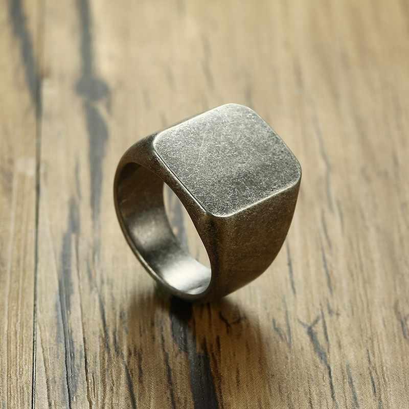 Perak Kuno Pria Cincin Pernikahan Unik Stainless Steel Berlapis Top Seal Janji Ringen Anak Pria Aksesoris
