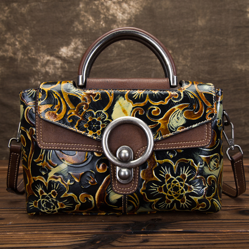 High Quality Natural Skin Shoulder Messenger Women Embossed Bag Tote Retro Crossbody Top Handle Bags Genuine