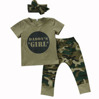 Infant Newborn Baby Clothing Sets Short Sleeve T Shirt Tops Camo Pants Set Daddy's Girl And Boy Letter Clothes Summer Outfit