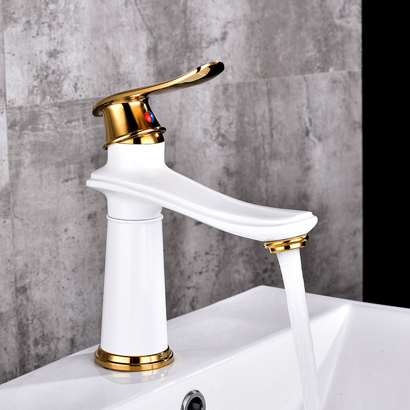 Basin Faucet Water Tap Bathroom Faucet Brass Made White Gold Black Finish Single Handle Hot Cold Water Sink Tap Mixer bakala bathroom faucet red black gold green paint finish brass basin sink faucet mixer tap single handle br 1526