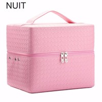 Weave Function Women Cosmetic Bag Travel Make Up Bags Fashion Ladies Makeup Pouch Handbag Luggage Organizer Case Clutch Tote