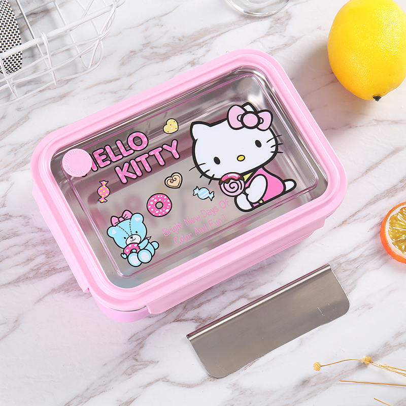Hello Kitty 304 Stainless Steel Lunch-box Heat Preservation Lunch Bento Box Bring Cover Canteen Concise Food Container Lunchbox