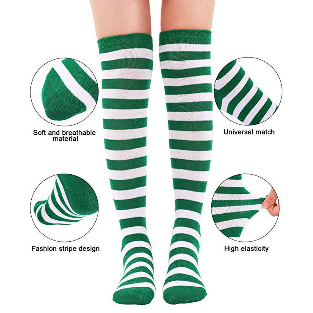 47334bc11 ... Vogue New Women Christmas Striped Stockings Red White Stripe Over Knee  High Socks Stockings Girls Lady ...