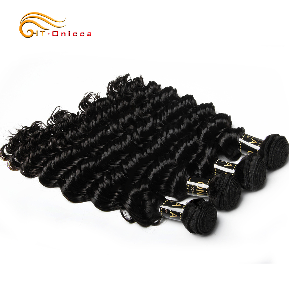 Deep Wave Brazilian Hair Weave Bundles 100% Remy Human Hair Extensions Natural Color 1/3/4 Bundles Can Buy