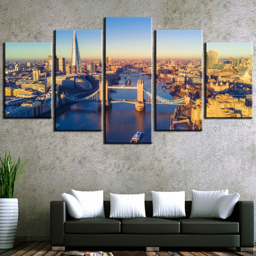 HD Print Large 5 Piece London City Modern Decorative Paintings on Canvas Wall Art for Home Decorations Wall Decor Artwork in Painting Calligraphy from Home Garden