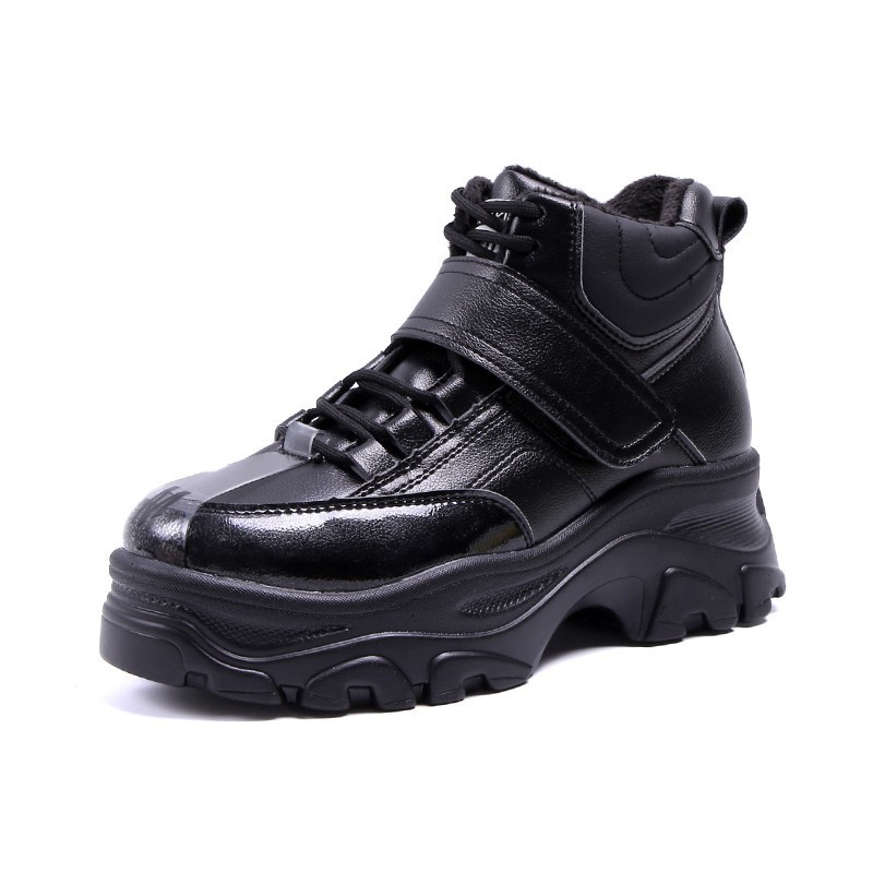 Image 5 - INS British Thick Bottom Snow Boots Women Lace Up Martin Boots Woman Platform Ankle Military Boots Warm Fur Winter Women Sneaker-in Ankle Boots from Shoes