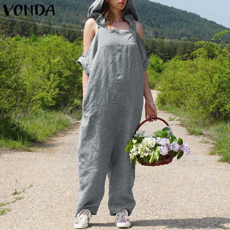 VONDA Rompers Womens   Jumpsuit   2019 Summer Vintage Harem Pants Sexy Off Shoulder Long Playsuits Casual Loose Hooded Overalls
