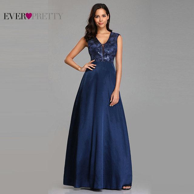 Prom Dresses Long 2020 Ever Pretty EZ07731NB New Navy Blue A-line Lace Appliques Sequined Wedding Guest Gowns Vestido De Gala 1