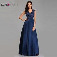 Prom Dresses Long 2019 Ever Pretty EZ07731NB New Navy Blue A line Lace Appliques Sequined Wedding Guest Gowns Vestido De Gala