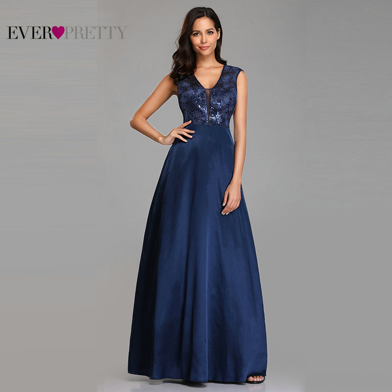 Prom Dresses Long 2019 Ever Pretty EZ07731NB New Navy Blue A-line Lace Appliques Sequined Wedding Guest Gowns Vestido De Gala