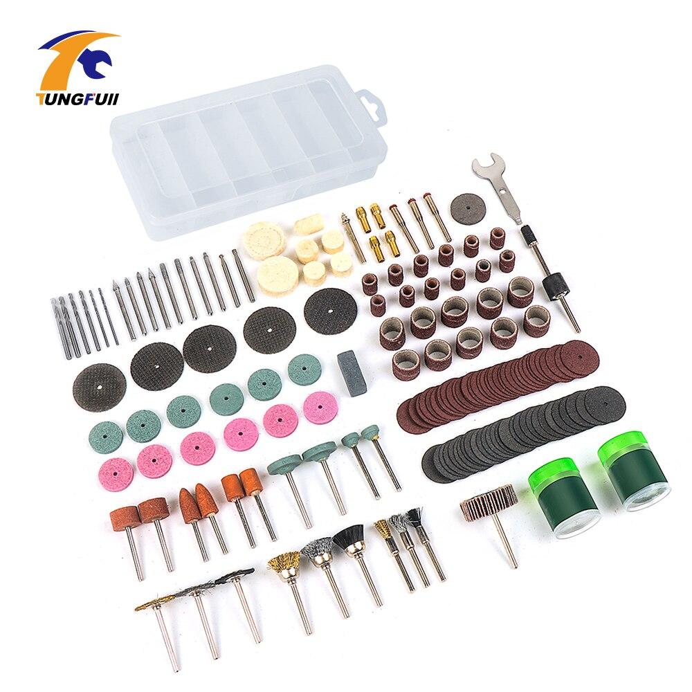 Tungfull 161 pièces Dremel Style accessoires outils abrasifs bois métal gravure électrique outil rotatif accessoire pour Dremel Bit Set