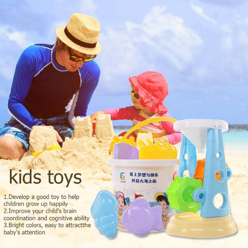Portable Summer Plastic Beach Bucket Hourglass Kit Sandplay Children Toys Collection Sand Away Beach Mesh Tool