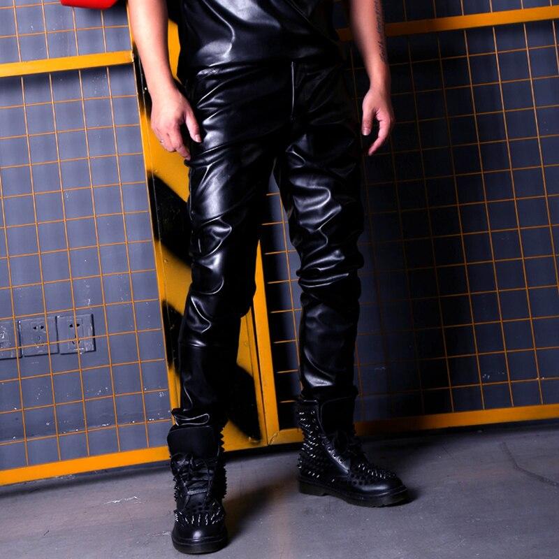 Pueden BeCustom hecha hombres Casual moto de cuero moda masculina Hip Hop Rock Punk Slim Fit PU pantalones de cuero etapa ropa