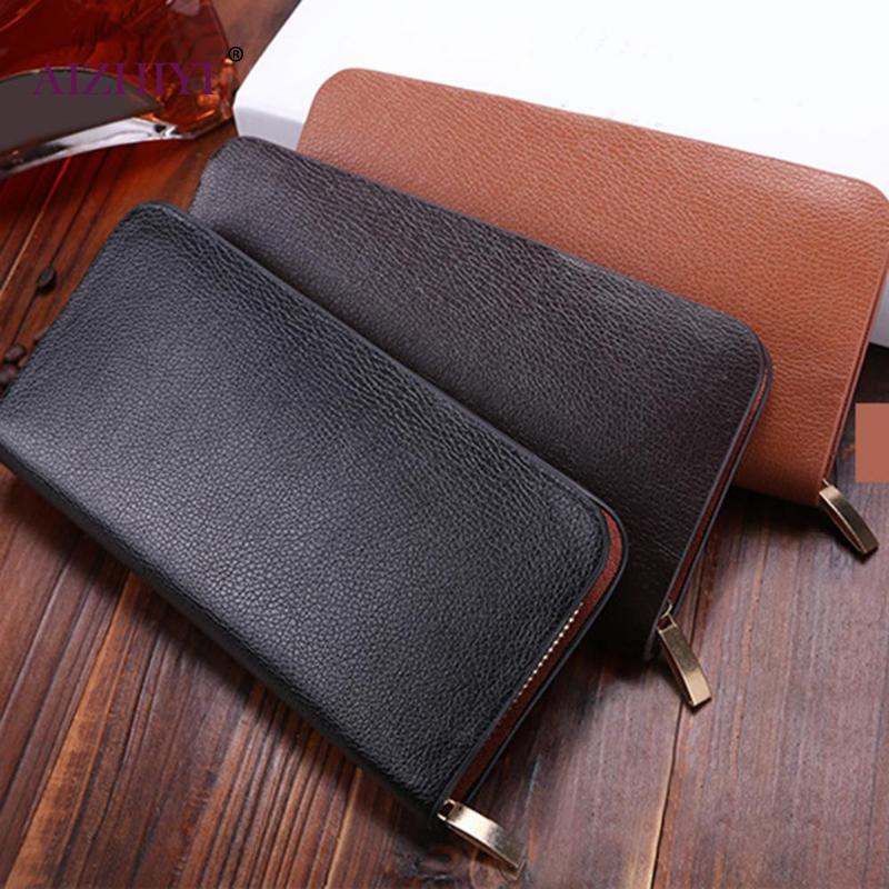 Fashion Men Business Zipper Wallet Male PU Leather Clutch Coin Purse Solid Long ID Card Holder Card Bag 2019 New Gentale Man Bag