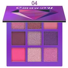 CmaaDu 9 цветов блестящие тени для макияжа Палитра матовых теней для век Палитра кистей для макияжа мерцающие пигментированные косметические средства TSLM2