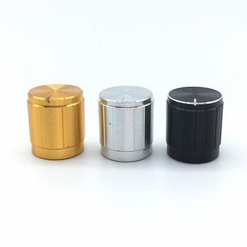 5 sztuk czarny srebrny złoty stop Aluminium przełączniki czapki 15x17mm potencjometr gałki przełącznik enkodera Plum wał D oś pół wał tanie i dobre opinie Aluminium Alloy