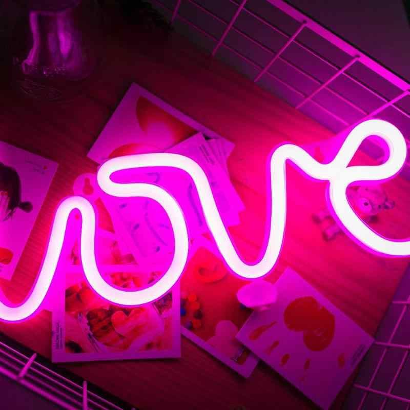 Luce al Neon Romantico Rosa AMORE Lettere di Illuminazione A LED Pannello di Ricarica USB Complementi Arredo Casa Lampada Della Stanza di Cerimonia Nuziale Del Partito di Festival Della Lampada Al Neon