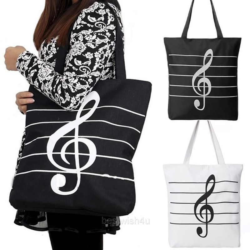 Baru 2019 Wanita Gadis Fashion Cute Portable Kanvas ECO Kain Kapasitas Besar Simbol Musik Bentuk Tas Besar Catatan Bahu Tas