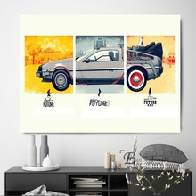 Back To The Future Time Shuttle Delorean Poster Wall Painting Living Room Abstract Canvas Art Pictures For Home Decor No Frame цена